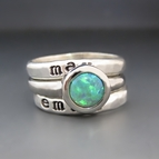 Sterling Silver & Green Opal Personalized Stacking Ring Set