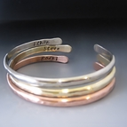 Three Personalized Stacking Bracelets {Silver, Copper & Gold}