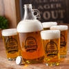 Personalized Brewery Growler Set with 4 Pint Glasses