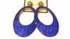 Clip-on Earrings Oval Glitter Blue Hoop Earring