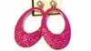 Clip-on Earrings Oval Glitter Pink Hoop Earring