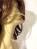 LARGE 4.75 INCH SIMPLE THIN HOOP EARRINGS GOLD TONE