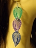 LEAF DANGLE EARRINGS GREEN PURPLE AND BLUE