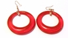 Vintage Hoop Earrings Red Dangle Open Hoops Glitter Lucite Hoops