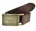 Levi's Genuine Leather Brown Bridle Leather Belt w/Brass Plaque Buckle