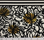 Cotton Lawn  Black/Yellow D#7M134 Double Border