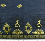 Cotton Voile Navy/Gold Border Print 0H259
