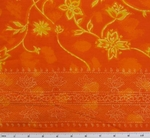 Cotton Voile Orange/Yellow Double Border Print 1H017