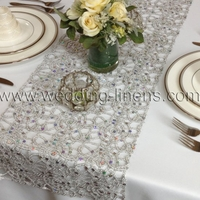 Alice Metallic Lace Wedding Table Runner