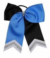 """6 1/2"""" Black and Capri Blue with White and Silver Glitter Tips"""