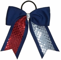Small 5.5 Navy with Red and Silver Sequin Tails