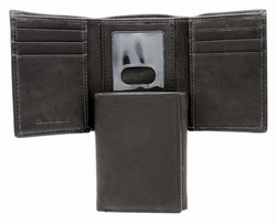 1-130-4F Mens Trifold Genuine Leather Wallet - Black