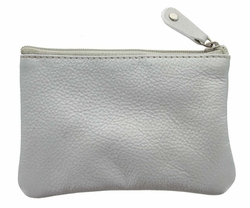 Genuine Leather Coin Purse Silver