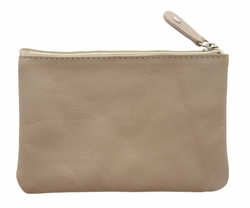 Genuine Leather Coin Purse Taupe