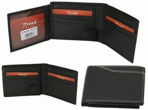 MC-57 Trend New York Manlo Collection Genuine Leather Dress Wallet-Black
