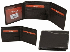 MC-57 Trend New York Manlo Collection Genuine Leather Dress Wallet-Dark Brown