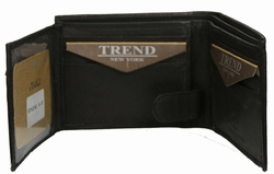 N-57 Trend New York Niza Collection Genuine Leather Dress Wallet - Black