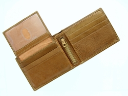 P148 Mens Bifold Genuine Leather Wallet - Tan