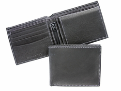 P18 Mens Bifold Genuine Leather Wallet - Black