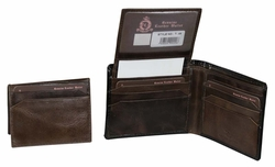 T-48 Turin Collection Genuine Leather Dress Wallet - Black / Brown