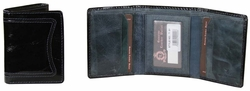 T-91 Turin Collection Genuine Leather Dress Wallet - Black / Blue