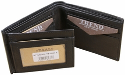 Trend New York Genuine Leather Black Mens Bifold Wallet Lobo