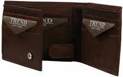 YB-3083 B Trend New York Hebe Collection Genuine Leather Casual/Dress Wallet - Brown