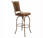 30 Inch Swivel Barstool with Burgundy Leather Back & Leather Seat