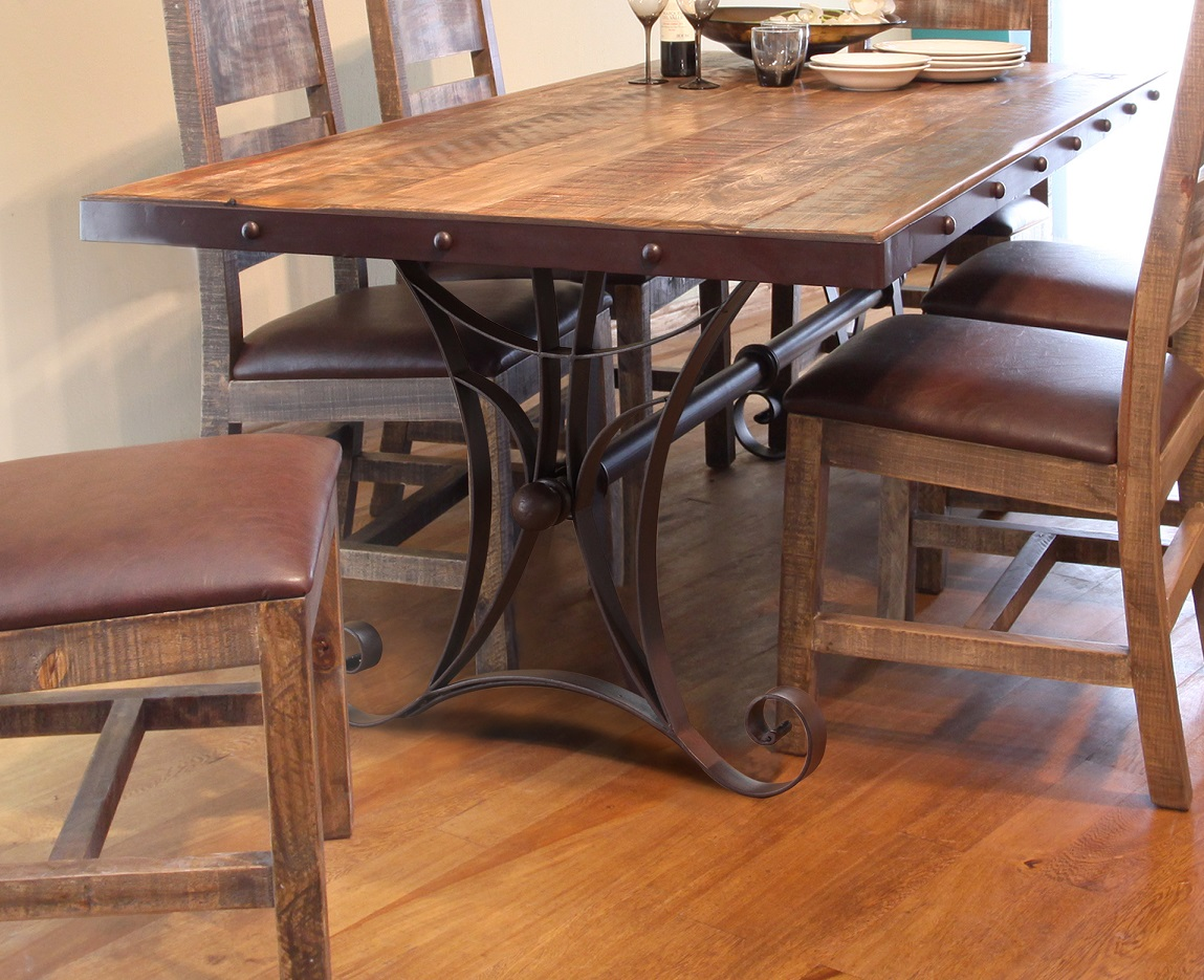 Antique Multicolor 79 Dining Table With Iron Base