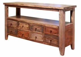Antique Multicolor 8-Drawer Sofa Table