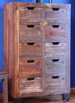 Antique Multicolor Multi-Drawer Console