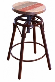 Antique Multicolor Swivel Adjustable Barstool