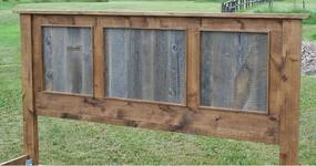 Headboard - Rustic Barnwood/Alder Panel Bed