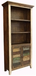 Rustic Antique Multicolor Bookcase with 2 Doors