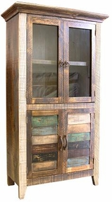 Rustic Antique Multicolor Bookcase with 4 Doors