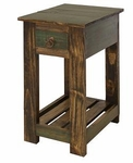 Rustic Antique Multicolor Chair Side Table