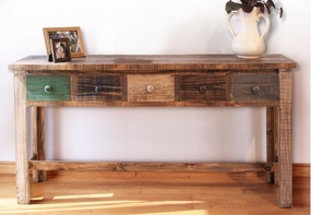 Rustic Antique Multicolor Console with 5 Drawers