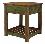 Rustic Antique Multicolor End Table