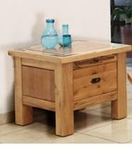 Rustic Lodge End Table with 1 Drawer