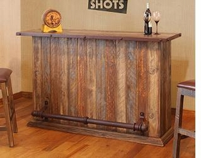 Rustic Multicolor Bar with Iron Footrest