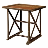 Industrial Iron & Wood End Table