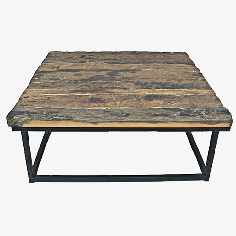 Old Wood Rustic Industrial Square Coffee Table