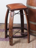 Reclaimed Wine Barrel Leather Stool