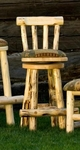 Upholstered Swivel Stool with Back