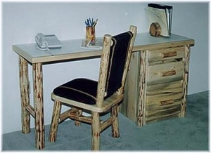 Writing Desk with Three Drawers and Two Log Legs