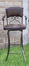 30 Inch Swivel Barstool with Brown Microfiber Back Seat with Arms
