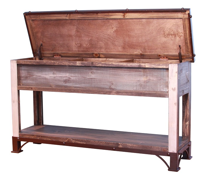 Antique trunk storage sofa table for Sofa tables with storage