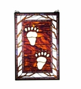 Bear Tracks Art Glass Window