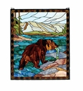 Catch of the Grizzly Art Glass Window