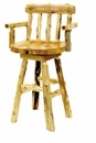 Cedar Swivel Bar Stool with Back and Arms